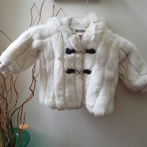 Children's Plush Genuine Fur Coat